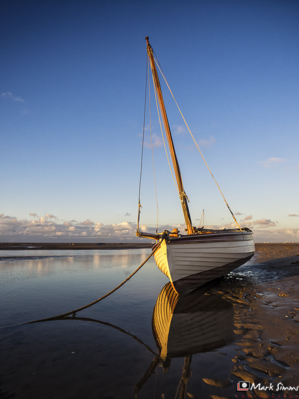 Sail Boat Reflected, Meols, Wirral, Merseyside, England