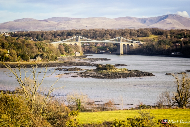 Menai Suspension Bridge, Menai Straits, Anglesey, Wales, UK
