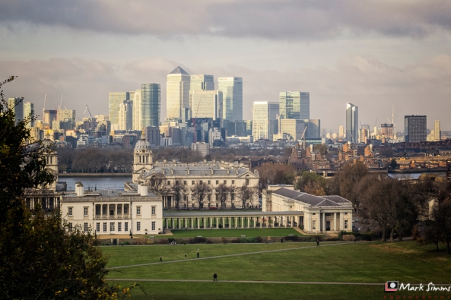 View from the Royal Observatory, Greenwich, London, England, UK