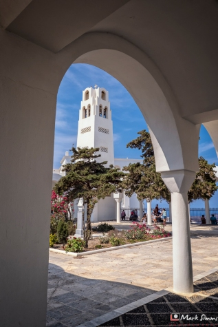Greek Orthodox Cathedral, Fira, Santorini, Greece, Europe