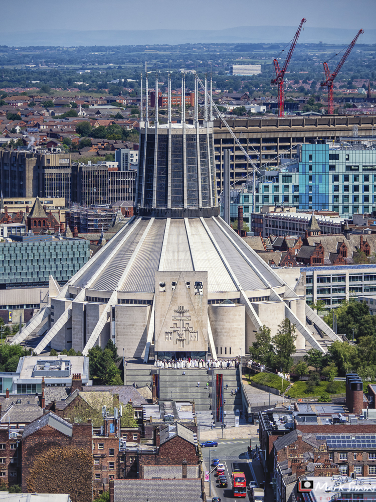 Views from the Anglican Cathedral, Liverpool, England, UK